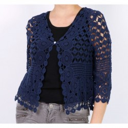 Gilet en coton avec dentelle façon macramé bleu marine vetement femme ados TU jusqu'au 46 neuve
