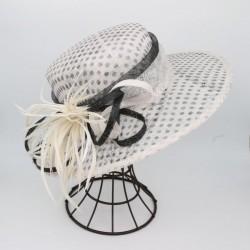Chapeau en sisal imprimé à pois garni de plumes blanc femme ados TU cérémonie mariage bapteme anniversaire communion neuve
