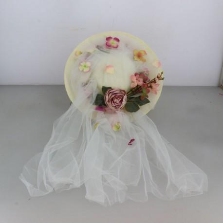 Chapeau style cavalière avec couronne de fleurs autour cérémonie mariage bapteme anniversaire communion plage neuf