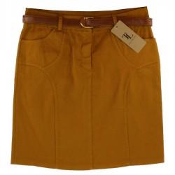 Jupe courte unie en 4 poches moutarde avec une ceinture DU M AU 3XL VËTEMENT FEMME ADOS NEUF