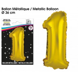 Ballons métalliques géant OR chiffre 1 ANNIVERSAIRE DECORATION DE SALLE FÊTE NEUF