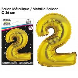 Ballons métalliques géant OR chiffre 2 ANNIVERSAIRE DECORATION DE SALLE FÊTE NEUF