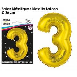 Ballons métalliques géant OR chiffre 3 ANNIVERSAIRE DECORATION DE SALLE FÊTE NEUF