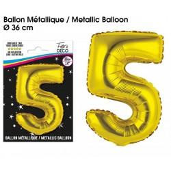 Ballons métalliques géant OR chiffre 5 ANNIVERSAIRE DECORATION DE SALLE FÊTE NEUF