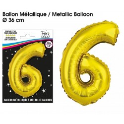 Ballons métalliques géant OR chiffre 6 ANNIVERSAIRE DECORATION DE SALLE FÊTE NEUF