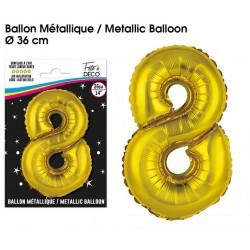 Ballons métalliques géant OR chiffre 8 ANNIVERSAIRE DECORATION DE SALLE FÊTE NEUF