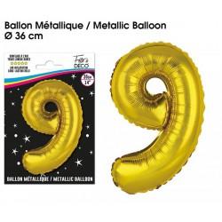 Ballons métalliques géant OR chiffre 9 ANNIVERSAIRE DECORATION DE SALLE FÊTE NEUF