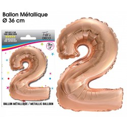 Ballon métallique géant Cuivre chiffre 2 ANNIVERSAIRE DECORATION DE SALLE FÊTE NEUF