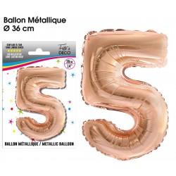 Ballon métallique géant Cuivre chiffre 5 ANNIVERSAIRE DECORATION DE SALLE FÊTE NEUF