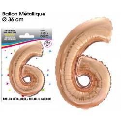 Ballon métallique géant Cuivre chiffre 6 ANNIVERSAIRE DECORATION DE SALLE FÊTE NEUF