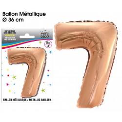 Ballon métallique géant Cuivre chiffre 7 ANNIVERSAIRE DECORATION DE SALLE FÊTE NEUF