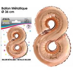 Ballon métallique géant Cuivre chiffre 8 ANNIVERSAIRE DECORATION DE SALLE FÊTE NEUF