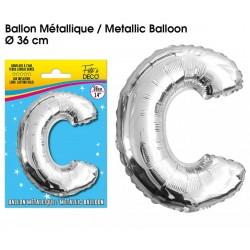 Ballon métallique géant Argent Lettres et Symboles lettre C DECORATION DE SALLE ANNIVERSAIRE FÊTE MARIAGE RETRAITE NEUF