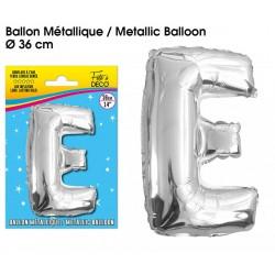 Ballon métallique géant Argent Lettres et Symboles lettre E DECORATION DE SALLE ANNIVERSAIRE FÊTE MARIAGE RETRAITE NEUF