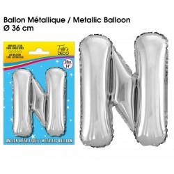 Ballon métallique géant Argent Lettres et Symboles lettre N DECORATION DE SALLE ANNIVERSAIRE FÊTE MARIAGE RETRAITE NEUF