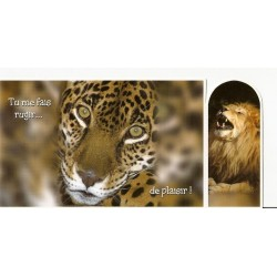 CARTE POSTALE NEUVE 21 X 10 CM AVEC MARQUE PAGES A DÉTACHER LION TIGRE ANNIVERSAIRE FETES EN TOUT GENRE NEUVE