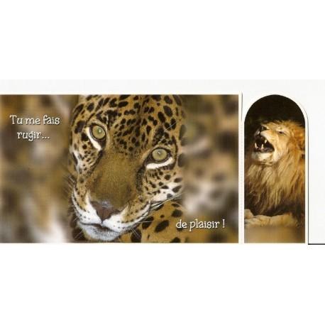 CARTE POSTALE NEUVE 21 X 10 CM AVEC MARQUE PAGES A DÉTACHER LION TIGRE
