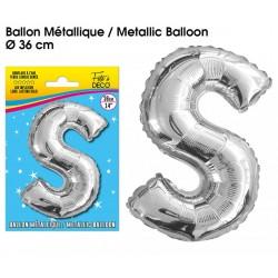 Ballon métallique géant Argent Lettres et Symboles lettre S DECORATION DE SALLE ANNIVERSAIRE FÊTE MARIAGE RETRAITE NEUF