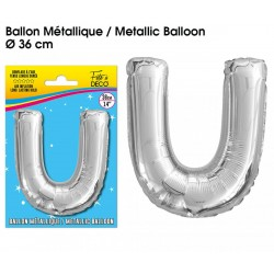 Ballon métallique géant Argent Lettres et Symboles lettre U DECORATION DE SALLE ANNIVERSAIRE FÊTE MARIAGE RETRAITE NEUF