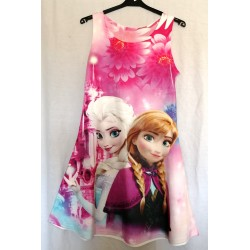 Robe fille sans manches col rond jupe évasée reine des neiges rose duo du 4 au 10 ans vêtement enfant idée cadeau neuve
