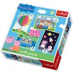 Puzzle 4 en 1 le voyage de Peppa's Pig licence officielle marque TREFL jeux société enfant idée cadeau anniversaire noël neuf