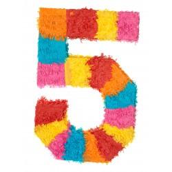 MAXI Pinata chiffre 5 enfant adulte a suspendre bonbons jouets jeux FETE ANNIVERSAIRE neuve