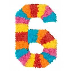 MAXI Pinata chiffre 6 enfant adulte a suspendre bonbons jouets jeux FETE ANNIVERSAIRE neuve