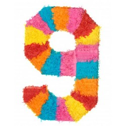 MAXI Pinata chiffre 9 enfant adulte a suspendre bonbons jouets jeux FETE ANNIVERSAIRE neuve