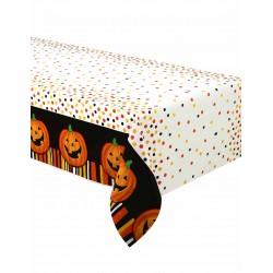 Nappe rectangulaire en plastique jetable Citrouille souriante Halloween gouter fête enfant déco table neuve