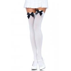 Bas Opaque Blanc Noeud satin noir grande marque LEG AVENUE S/XL SOUS VETEMENT IDEE CADEAU ST VALENTIN NOEL NEUF