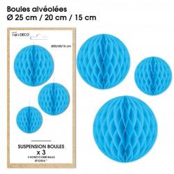 Lot de 3 suspensions en forme de boules alvéolées en papier bleu déco salle mariage anniversaire baptême retraite neuve