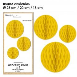 Lot de 3 suspensions en forme de boules alvéolées en papier jaune déco salle mariage anniversaire baptême retraite neuve