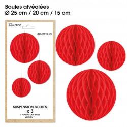 Lot de 3 suspensions en forme de boules alvéolées en papier rouge déco salle mariage anniversaire baptême retraite neuve