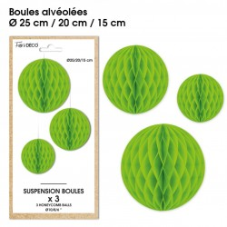 Lot de 3 suspensions en forme de boules alvéolées en papier vert déco salle mariage anniversaire baptême retraite neuve