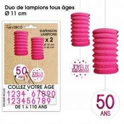 Lot de 2 Lampions tous âges papier longueur 45 cm diamètre 10 cm FUCHSIA SOIREE FETE ANNIVERSAIRE NEUF