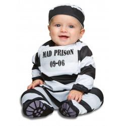 Déguisement prisonnier rayer bébé 1/2 ans carnaval anniversaire fête Halloween neuf