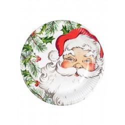 Lot de 8 Assiettes en carton Père Noël 23 cm jetable fête décoration de table pour noel neuve