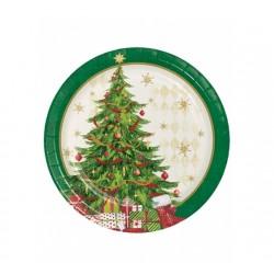 Lot de 8 assiettes desserts en carton jetable sapin de Noël 18 cm fête décoration de table pour noel neuve