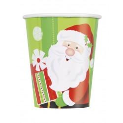 Lot de 8 Gobelets verres en carton Petit Père Noël 270 ml fête décoration de table pour noel neuf