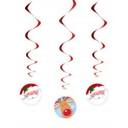 Lot de 3 Suspensions spirales Père Noël et Renne fête décoration de salle maison pour noël neuve