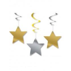 Lot de 3 Décorations à suspendre étoiles fête décoration de salle maison pour noël ou nouvel an neuve