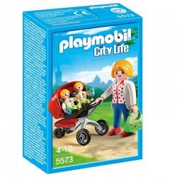 Playmobil 5573 - Maman avec jumeaux et Landau licence officielle jeux idée cadeau anniversaire noël neuf
