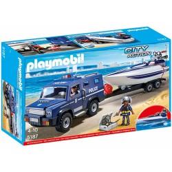 Playmobil 5187 Camion de police City Action avec bateau licence officielle idée cadeau anniversaire noël neuf