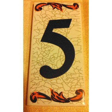 Faience de portes d'entrée numéro 5 en céramique a coller neuve