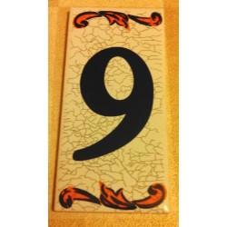 Faience de portes d'entrée numéro 9 en céramique a coller neuve