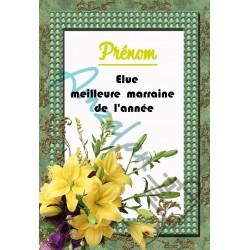 Elue meilleure MARRAINE de l'année prénom au choix orchidées sur faience idée cadeau anniversaire fête noel neuve emballée