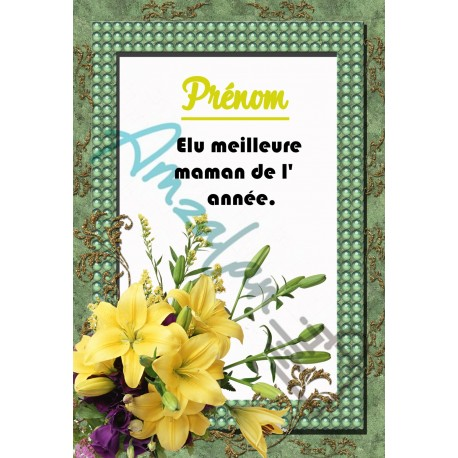 Elue meilleure maman prénom au choix orchidées sur faience idée cadeau anniversaire fête des mères noel neuve emballée