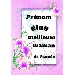 Elue meilleure MAMAN floral prénom au choix sur faience idée cadeau anniversaire fete des mères retraite noel neuve emballée