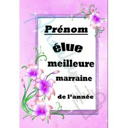 Elue meilleure MARRAINE floral prénom personnalisable sur faience idée cadeau anniversaire fete grand mères noel neuf emballé