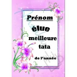 Elue meilleure TATA floral prénom au choix sur faience idée cadeau anniversaire fete retraite noel neuve emballée